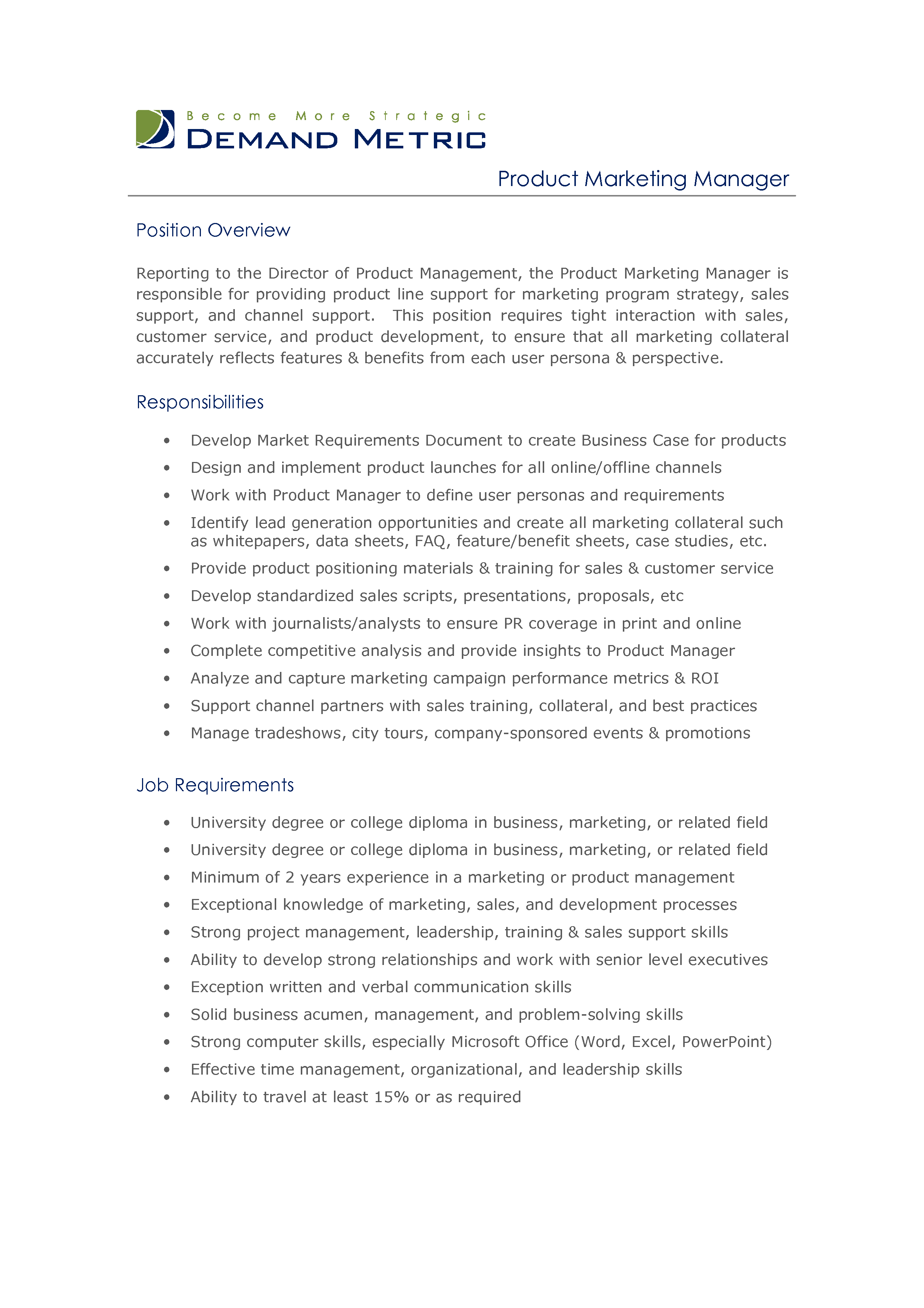 Director Of Marketing Job Description